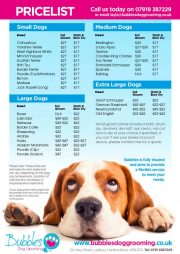 Bubbles Grooming Price List April 2021